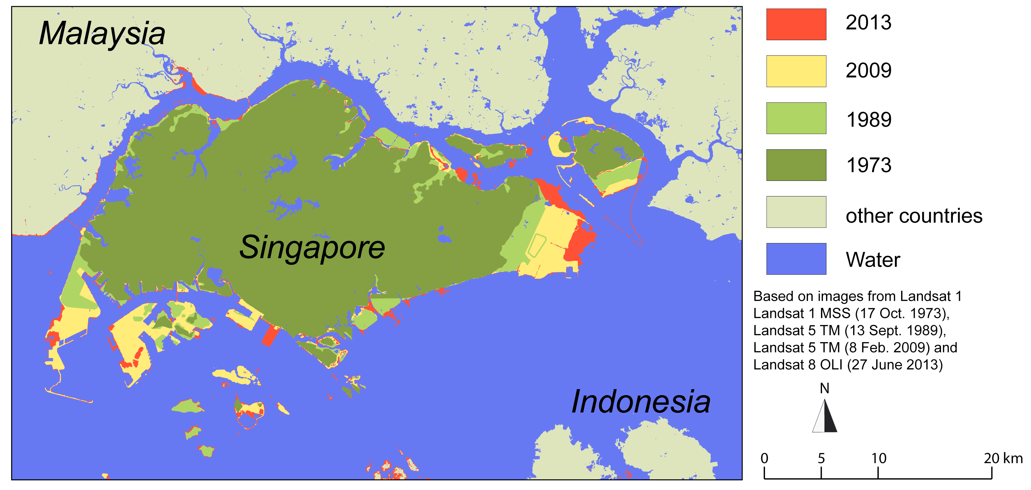 UNEP / carte de l'expansion de Singapour